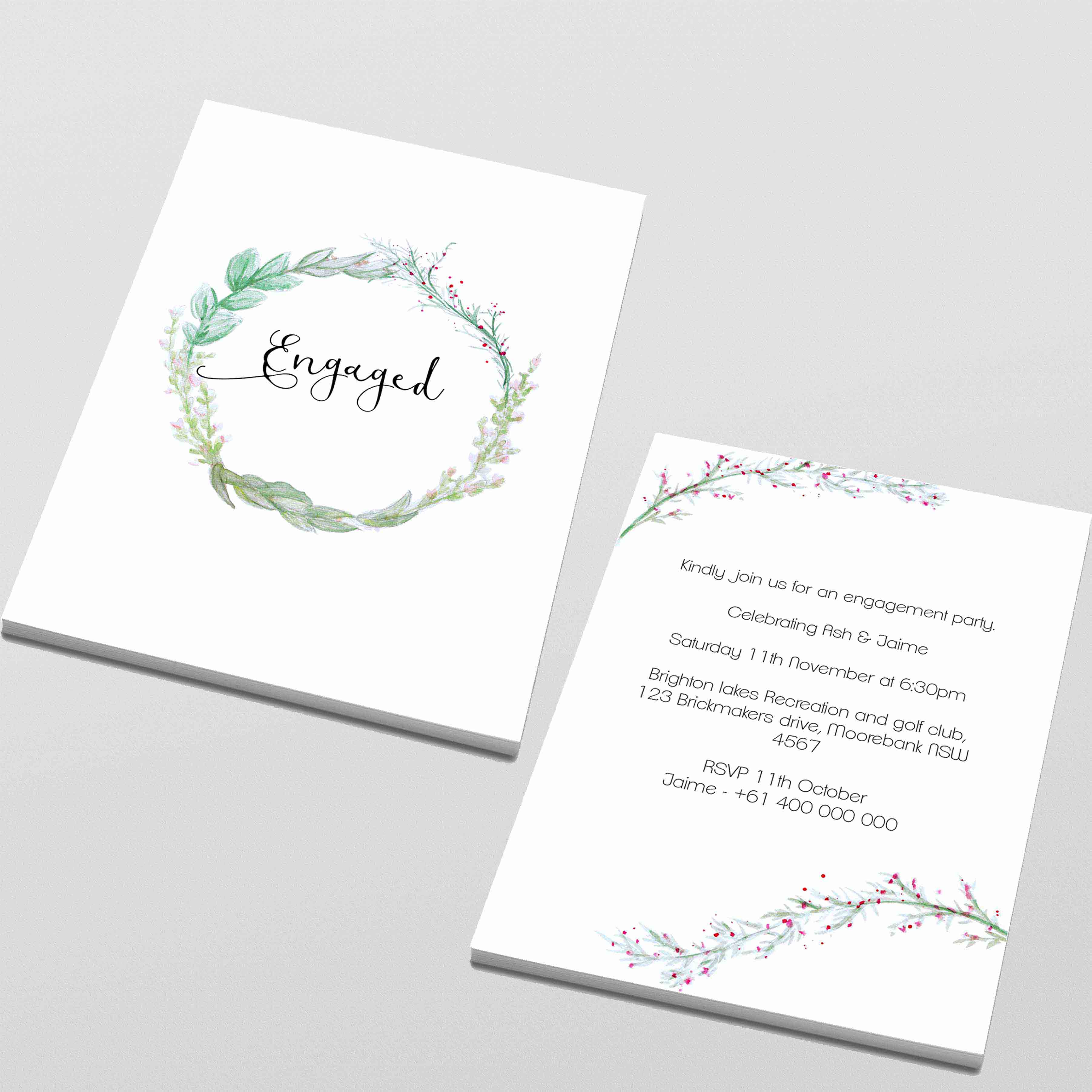 double sided engagement invitations design