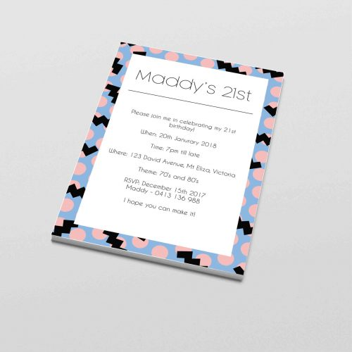 Funky 21st birthday invitations